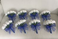 8 X WHITE ROYAL BLUE SILVER FOAM ROSE WEDDING FLOWERS BOUQUET BRIDESMAID SPARKLE